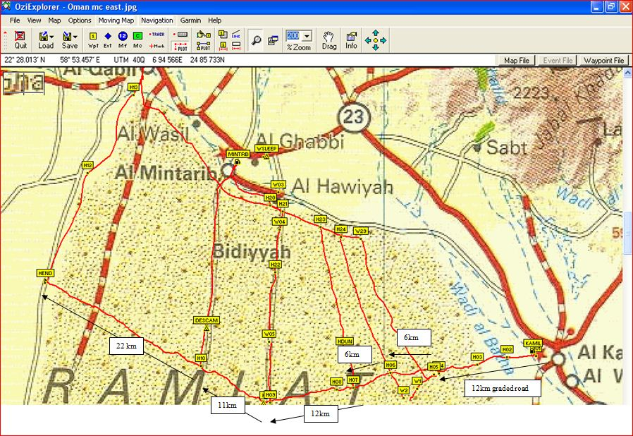 Wahiba Map 80km East-West